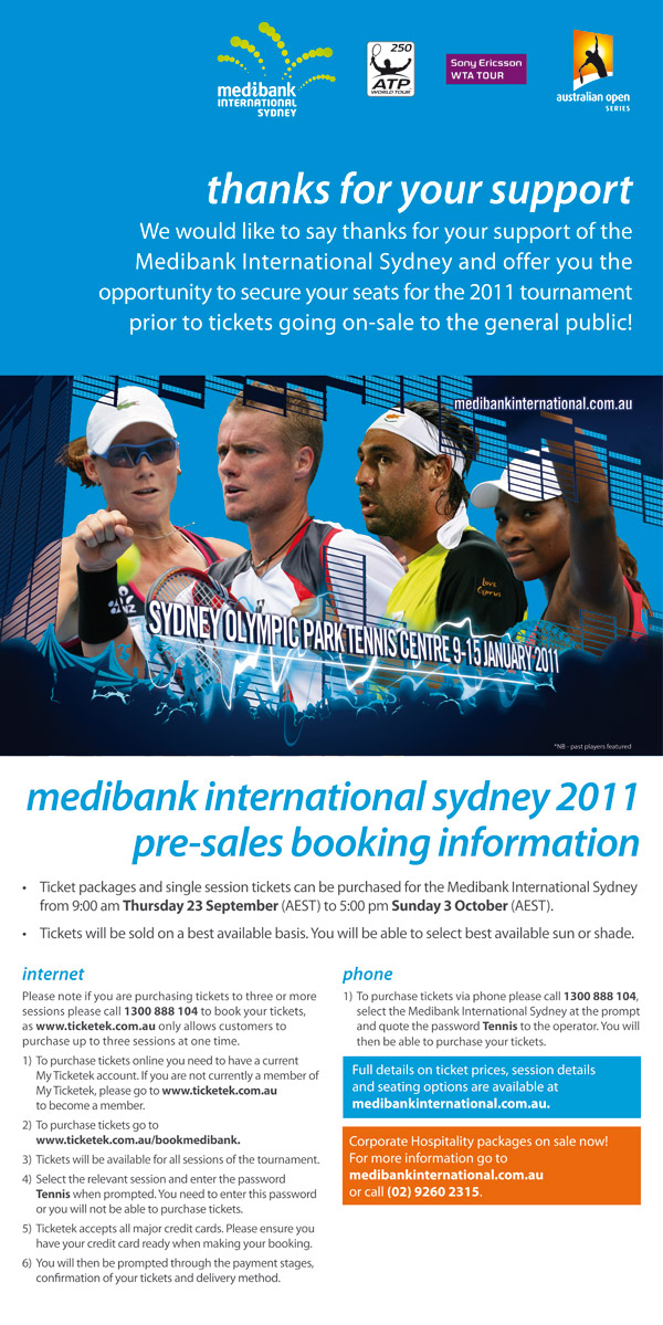 Priority booking for Medibank International Sydney 2011